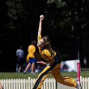 Ellyse Perry bowling during the match between Australia and Pakistan in the Super 6 stage of the ICC Women's World Cup Cricket tournament at Bankstown Oval, Sydney, Australia on March 16 2009, Australia won the match by 107 runs. Photo Tim Clayton