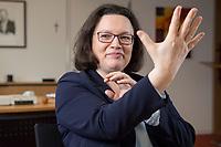 15 MAR 2018, BERLIN/GERMANY:<br /> Andrea Nahles, SPD Fraktionsvorsitzende, waehrend einem Interview, in ihrem Buero, Jakob-Kaiser-Haus, Deutscher Bundestag<br /> IMAGE: 20180315-01-027<br /> KEYWORDS: Büro