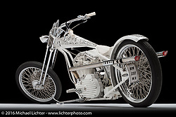 """Queen of California"", a white Sportster digger built by Arnaud Mary of Motorsports in France. Photographed by Michael Lichter in Sturgis, SD on August 13. ©2016 Michael Lichter."