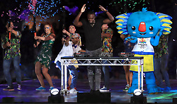 Usain Bolt on stage during the Closing Ceremony for the 2018 Commonwealth Games at the Carrara Stadium in the Gold Coast, Australia.