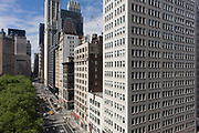 Modern and 19th century architecture in Manhattan, New York City. High-rise buildings are mostly corporate offices though some apartments in this, one of the world's great megacities. They occupy addresses along Broadway - a mixture of modernity and 19th century architecture can be seen in detail.