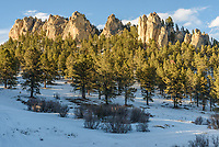 This meadow with towering cliffs behind it is 2.5 miles in to the Penrose Trail. The pinnacles reminded me of those in the Black Hills.