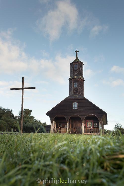Cross and Church of Vilupulli, Chiloe Island, Chile