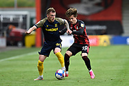 Josh Tymon (35) of Stoke City battles for possession with Rodrigo Riquelme (20) of AFC Bournemouth during the EFL Sky Bet Championship match between Bournemouth and Stoke City at the Vitality Stadium, Bournemouth, England on 8 May 2021.