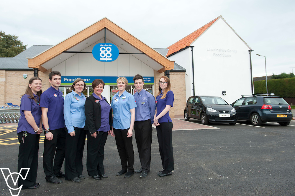 Official opening of the Lincolnshire Co-operative's new foodstore in Dunholme.<br /> <br /> Pictured, from left, duty manager Jess Stanfield, Joe Scaife, Karen Farrell, store manager Karen Cooper, Ashleigh Fiedler, Daniel MacNally, Jessica Bullivant.<br /> <br /> Thursday, October 23, 2014