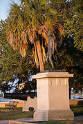 Statue of revolutionary war hero William Moultrie in White Point Gardens along the battery in Charleston, SC.