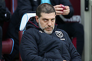 Slaven Bilic, West Ham United manager looking on from the dugout. Premier league match, West Ham Utd v West Bromwich Albion at the London Stadium, Queen Elizabeth Olympic Park in London on Saturday 11th February 2017.<br /> pic by John Patrick Fletcher, Andrew Orchard sports photography.