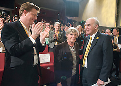 © Licensed to London News Pictures. 14/03/2015. Liverpool, UK. Danny Alexander, Rachel Smith, Vince Cable.  The Liberal Democrat Spring Conference in Liverpool 14th March 2015. Photo credit : Stephen Simpson/LNP