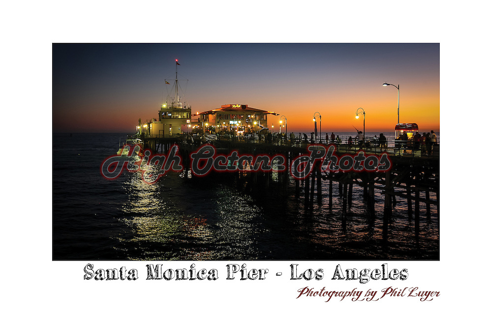 Shot of the Santa Monica Pier in Los Angeles, shot just after sunset.