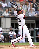 CHICAGO - SEPTEMBER 29:  Jose Abreu #79 of the Chicago White Sox bats against the Detroit Tigers on September 29, 2019 at Guaranteed Rate Field in Chicago, Illinois.  (Photo by Ron Vesely)  Subject:   Jose Abreu