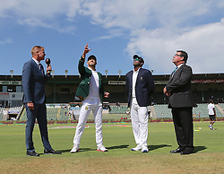 Shaun Pollock (L), Faf du Plessis (c) of South Africa, Angelo Mathews (c) of Sri Lanka, and Mach Referee David Boon during day one of the 1st test match between South Africa and Sri Lanka held at the St George's Oval in Port Elizabeth on the 26th December 2016.<br /> <br /> Photo by: Richard Huggard / RealTime Images