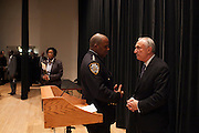 NYPD Commissioner William Bratton, right, speaks to Chief Phillip Banks, III before speaking to the press, after Mayor Bill de Blasio administered the Oath of Office to NYPD Recruits at Queens College, 65-30 Kissena Blvd, Flushing, NY on Thursday, Jan. 9, 2014.<br /> <br /> CREDIT: Andrew Hinderaker for The Wall Street Journal<br /> SLUG: NYSTANDALONE