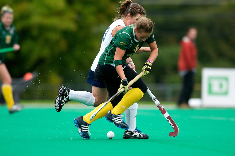 Catamounts forward Taylor Silvestro (6) fights for the ball during the women's field hockey game between the Maine Black Bears and the Vermont Catamounts at Moulton/Winder Field on Saturday afternoon September 29, 2012 in Burlington, Vermont.