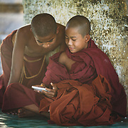 Young monks in Bagan, Myanmar are just as enthused about the potential from new technology as elsewhere in the world.