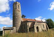 Round tower of church of Saint Andrew, Mutford, Suffolk, England, UK