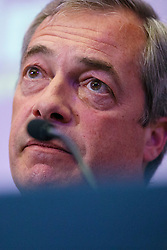 © Licensed to London News Pictures. 29/04/2016. London, UK. UKIP Leader Nigel Farage delivers a speech on EU referendum and explains security implications if Britain stays in the EU at the Emmanuel Centre in London on Friday, 29 April 2016. Photo credit: Tolga Akmen/LNP