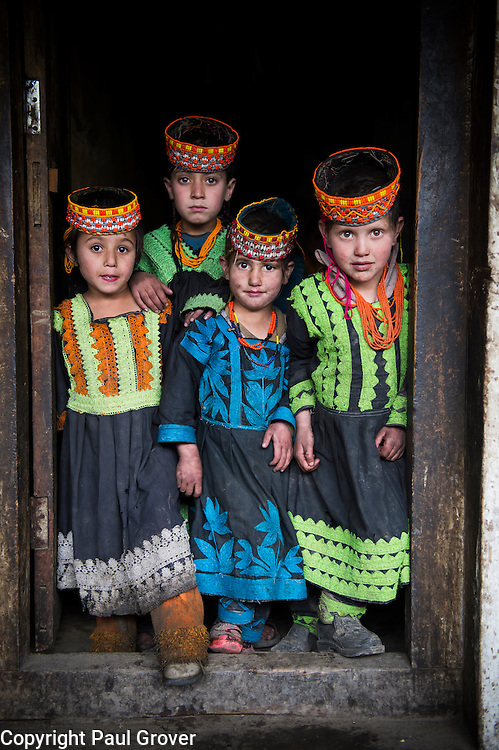 Bumburet, Chitral District,Pakistan.Pic Shows  Kalash kids<br />  in the Kalash village in the valley of Bumburet in traditional clothing