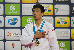 Gold medalist Zhansay Smagulov of Kazakhstan attends the award ceremony for men's -66 kg category at Grand Prix Budapest 2015 in Budapest, Hungary on June 13, 2015. EXPA Pictures © 2015, PhotoCredit: EXPA/ Photoshot/ Attila Volgyi<br /> <br /> *****ATTENTION - for AUT, SLO, CRO, SRB, BIH, MAZ only*****