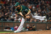Oakland Athletics relief pitcher Chris Hatcher (44) pitches against the San Francisco Giants at AT&T Park in San Francisco, California, on March 26, 2018. (Stan Olszewski/Special to S.F. Examiner)
