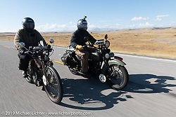 Father and son - Mark Loewen riding his 1912 Excelsior twin alongside his son Jeremy on his 1925 Harley-Davidson JD in the Motorcycle Cannonball coast to coast vintage run. Stage 12 (242 miles) from Great Falls to Kalispell, MT. Thursday September 20, 2018. Photography ©2018 Michael Lichter.