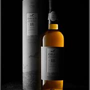OBAN 18 Single Malt Scotch Whisky Box & Bottle in a dark environment.