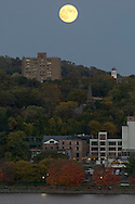 Highland, New York - The full moon rises over Poughkeepsie on Oct. 18, 2013.