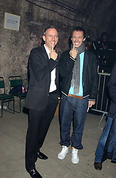 Left to right, PATRICK COX and VISCOUNT MACMILLAN  at a party for De Beers to celebrate the launch of their Rough diamond •Talisman Collectionê held at Shunt Vaults, London Bridge, London SE1 on 28th November 2005.<br /><br />NON EXCLUSIVE - WORLD RIGHTS