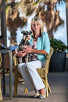 Dog Society Founder Tanya Hynes with Winston at St Kilda Beach and Republica Cafe. Photo By Craig Sillitoe. ..MAY BE ARCHIVED AND USED ONLY FOR EDITORIAL PURPOSES RELATING 'DOG SOCIETY' AND TANYA HYNES. For all other purposes contact Craig Sillitoe Photography, craig@csillitoe.com Ph 61-419-345162