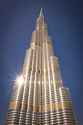 Low angle view of the famous Burj Khalifa, the tallest building in the world, as of 2021 in Dubai, United Arab Emirates