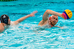 Jesse Koopman of the Netherlands in action against France during the Olympic qualifying tournament. The Dutch water polo players are on the hunt for a starting ticket for the Olympic Games on February 17, 2021 in Rotterdam