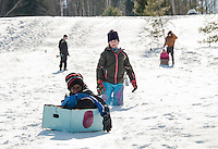 Cardboard Sled Derby with Gilford Parks and Recreation.  Karen Bobotas for the Laconia Daily Sun