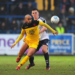 TELFORD COPYRIGHT MIKE SHERIDAN 19/1/2019 - Ashley Chambers and Ross White of AFC Telford during the Vanarama Conference North fixture between AFC Telford United and Kidderminster Harriers