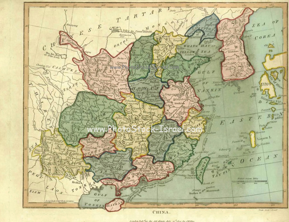 19th century map of China Handcolored copperplate engraving From the Encyclopaedia Londinensis or, Universal dictionary of arts, sciences, and literature; Volume IV;  Edited by Wilkes, John. Published in London in 1810