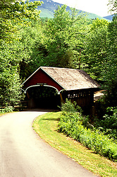 New Hampshire: White Mountains.  At Franconia Notch, the Penigewasset Covered Bridge.  Photo #: nhwhit103..Photo copyright Lee Foster, www.fostertravel.com, 510/549-2202, lee@fostertravel.com