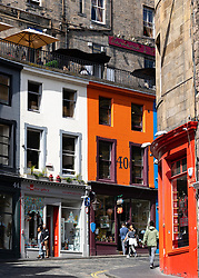 View of Victoria Street at West Bow in Edinburgh Old town, Scotland, UK
