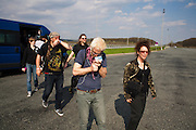 Anna Marija Luksic, tour assistant, Srdjan 'Gino' Jevdjevic, Chris Stromquist, Val Kiossovski and Amy Denio as Kultur Shock stops for lunch along a Croatian highway en route to Belgrade, Serbia for a show later that evening, Sunday April 3, 2011..