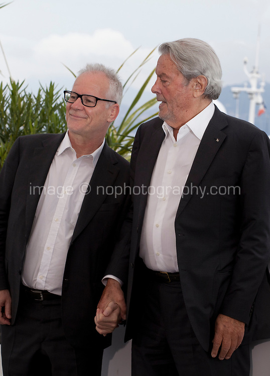 Festival  Director Thierry Frémaux with Actor Alain Delon ahead of recieving an honorary Palme d'Or at the 72nd Cannes Film Festival, Sunday 19th May 2019, Cannes, France. Photo credit: Doreen Kennedy