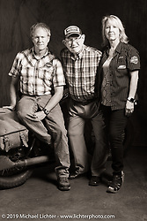 Grover Sassaman is the retired 98-year old founder and proprietor of Harley-Davidson of Macon, Georgia who is seen here with his son Greg and daughter-in-law Lisa (who now run the dealership.) The bike is Bob Zeolla's 1939 Harley-Davidson EL. Cross Country Chase motorcycle endurance run from Sault Sainte Marie, MI to Key West, FL (for vintage bikes from 1930-1948). Photographed at the end of the Stage 6 ride from Chattanooga, TN to Macon, GA USA. Wednesday, September 11, 2019. Photography ©2019 Michael Lichter.
