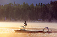 Floating dock in the morning mist, Alta Lake, Whistler, BC