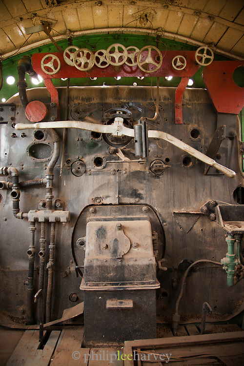 The cab of a locomotive at the railway museum in Nairobi, Kenya. The railway is rich with history, and integral in the development of the country after being colonised by the British in the 19th century