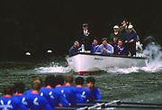 Henley, UNITED KINGDOM. Regatta Chairman, Peter CONI. umpiring a race at the1988 Henley Royal Regatta, Henley Reach. [Mandatory Credit Peter Spurrier/Intersport Images]