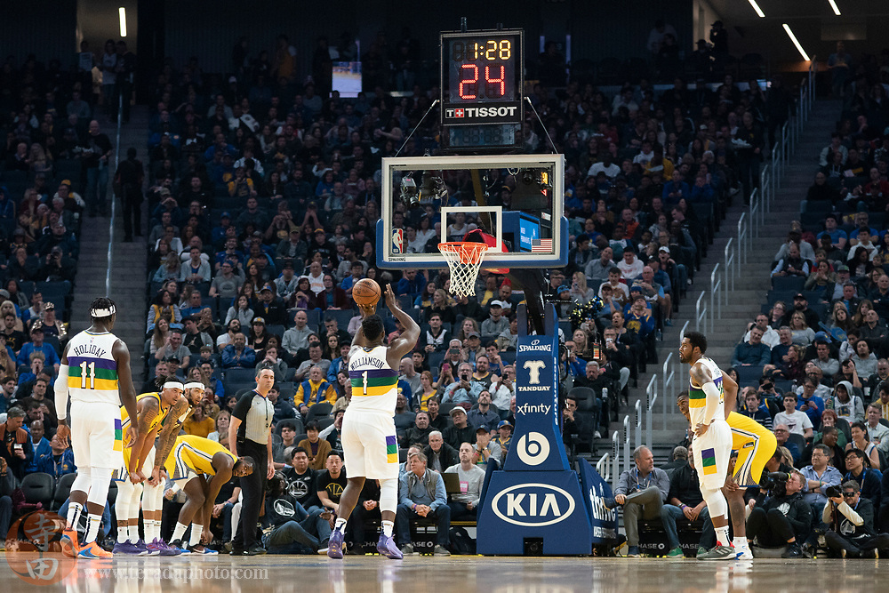 February 23, 2020; San Francisco, California, USA; New Orleans Pelicans forward Zion Williamson (1) shoots the basketball during the second quarter against the Golden State Warriors at Chase Center.