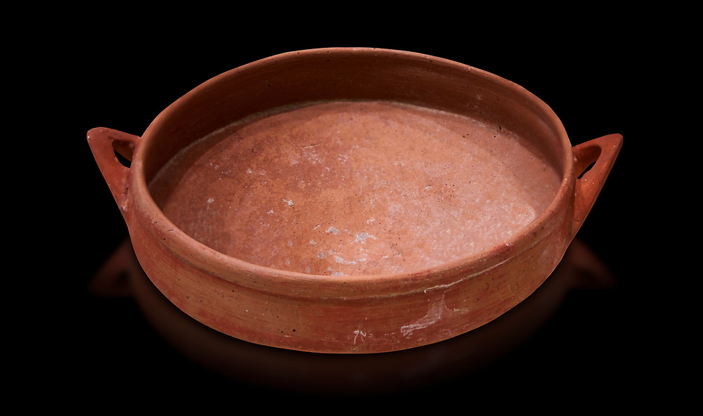 Hittite terra cotta bowl. Hittite Old Period, 1650 - 1450 BC.  Hattusa Boğazkale. Çorum Archaeological Museum, Corum, Turkey. Against a black bacground. .<br />  <br /> If you prefer to buy from our ALAMY STOCK LIBRARY page at https://www.alamy.com/portfolio/paul-williams-funkystock/hittite-art-antiquities.html  - Type Hattusa into the LOWER SEARCH WITHIN GALLERY box. Refine search by adding background colour, place,etc<br /> <br /> Visit our HITTITE PHOTO COLLECTIONS for more photos to download or buy as wall art prints https://funkystock.photoshelter.com/gallery-collection/The-Hittites-Art-Artefacts-Antiquities-Historic-Sites-Pictures-Images-of/C0000NUBSMhSc3Oo