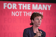 Anneliese Dodds MP introducing former City financier Professor Avinash Persaud launches a new policy paper in London on modernising the UKs existing financial transactions tax i.e. Robin Hood Tax on July 18th 2017 in London, United Kingdom. Speaking on a panel with Labours Shadow Chancellor John McDonnell, who has adopted the papers policy recommendations.