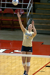 15 October 2005: Notre Dame Fighting Irish Libero Meg Henican puts the ball into play. The Fighting Irish of Notre Dame knocked out the Illinois State Redbirds in 4 games.  The match was filled with several action packed vollies. A resonable fan base was on hand for this rare Monday evening competition at Redbird Arena on the campus of Illinois State University in Normal IL