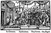 Headpiece from Thomas Moore's work depicting an ideal state where reason ruled, 'Utopia' 1518 (Ist edition 1516) showing More in discussion with Raphael Hythlodaeus (Hythloday) traveller and philosopher, and Peter Giles   Woodcut