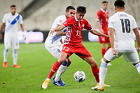 ATHENS, GREECE - OCTOBER 11: Mihail Caimacovof Moldova and Dimitris Kourbelisof Greece during the UEFA Nations League group stage match between Greece and Moldova at OACA Spyros Louis on October 11, 2020 in Athens, Greece. (Photo by MB Media)