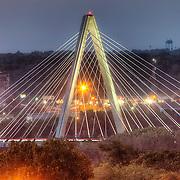 View of the Kit Bond Bridge over the Missouri River from near 8th and Harrison, Kansas City, Missouri.