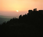 Landscape at sunset on the outskirts of Siena, Italy