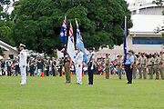 Australian military flag bearers during Cairns ANZAC Day parade 2010. <br /> <br /> Editions:- Open Edition Print / Stock Image
